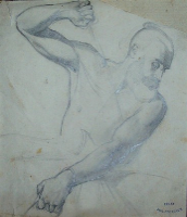 Philipotteaux - bearded man - 19th century - drawing - 13 x 15 cms - PRICE ON REQUEST
